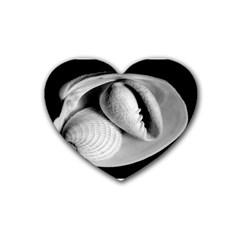 sea shells Rubber Coaster (Heart) by diamondcity