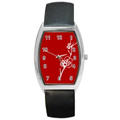 Red Print Barrel Style Metal Watch by classicwatches