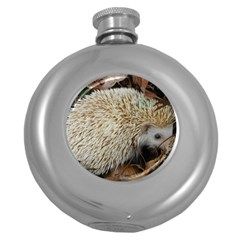 Hedgehog in Leaves Hip Flask (5 oz) from ArtsNow.com Front