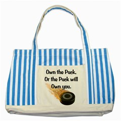 Own The Puck Striped Blue Tote Bag from ArtsNow.com Front
