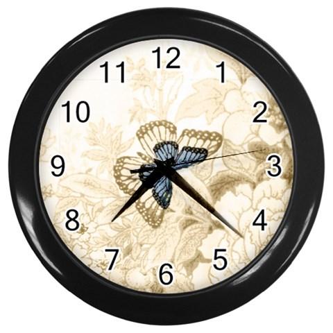 Butterfly Clock By Birkie   Wall Clock (black)   H27aawdvxl0z   Www Artscow Com Front