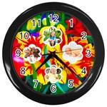 summer flower clock - Wall Clock (Black)