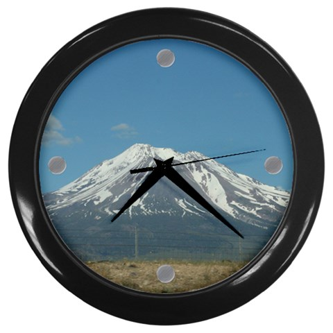 Tick Tock Mt Shasta By Amyjo   Wall Clock (black)   K7m4dgumt9i3   Www Artscow Com Front