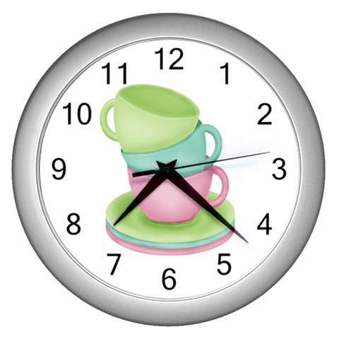 Tea Party Clock By Sooze   Wall Clock (silver)   Qonazcjqlw58   Www Artscow Com Front