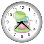 Tea Party Clock - Wall Clock (Silver)