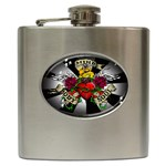 Oval-Black-Mind_-Body-and-Soul-Tattoo-Belt-Buckle Hip Flask (6 oz)