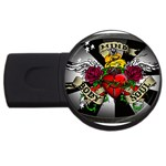 Oval-Black-Mind_-Body-and-Soul-Tattoo-Belt-Buckle USB Flash Drive Round (1 GB)