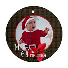 Merry Christmas 1 By Carmensita   Round Ornament (two Sides)   Nwitz0x25hmq   Www Artscow Com Front