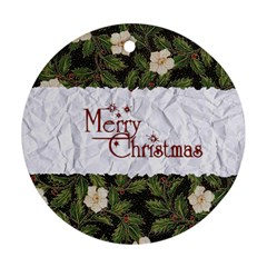 Merry Christmas 1 By Carmensita   Round Ornament (two Sides)   Nwitz0x25hmq   Www Artscow Com Back