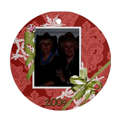 Judy & Mo Ornament 2009 By Maureen Bayless   Ornament (round)   17i52bdjijox   Www Artscow Com Front