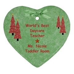 School Ornament Gift Ideas By Heather   Heart Ornament (two Sides)   P3nld12ine9d   Www Artscow Com Back