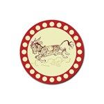 Leaping donkey Rubber Round Coaster (4 pack)