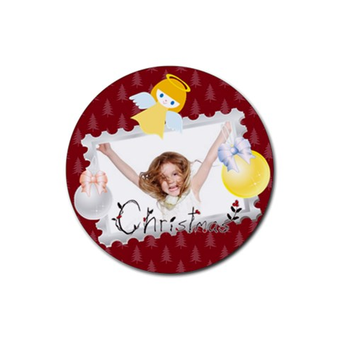 Christmas By Wood Johnson   Rubber Round Coaster (4 Pack)   6ys42jum1cdb   Www Artscow Com Front