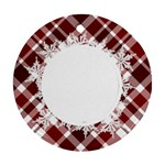 Peppermint Plaid and Snowflake Ornament - Ornament (Round)