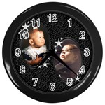 starry night clock - Wall Clock (Black)