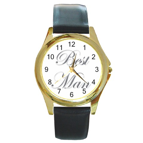 Best Man Watch By Catvinnat   Round Gold Metal Watch   F6sznxe9txf1   Www Artscow Com Front