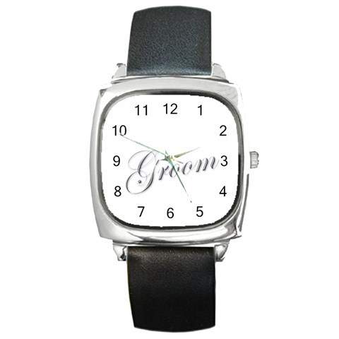 Groom Watch By Catvinnat   Square Metal Watch   Pitbts6q6lhy   Www Artscow Com Front