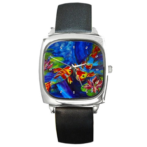 Koi Encounter By Alana   Square Metal Watch   Dcxfet5akf8s   Www Artscow Com Front