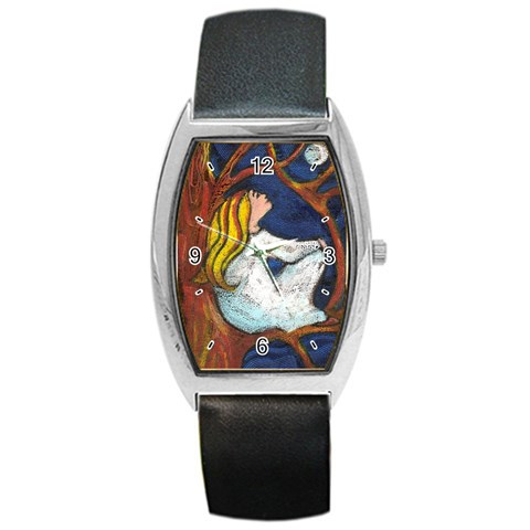 Moon Gazing By Alana   Barrel Style Metal Watch   6t470mb6e3qq   Www Artscow Com Front