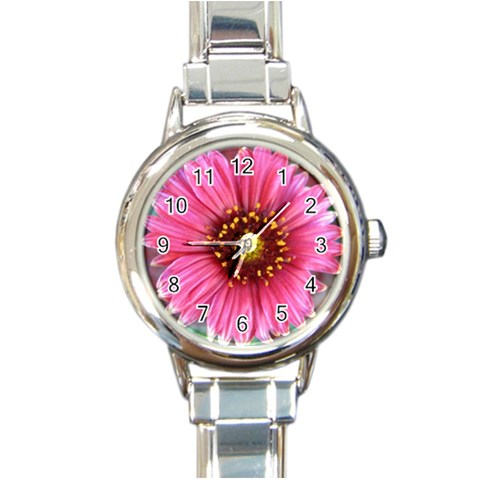 Pink Flower Watch By Wendy   Round Italian Charm Watch   5u4d69ijq2jr   Www Artscow Com Front