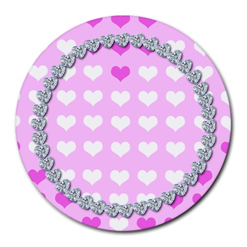 Cute Hearts Mousepad By Gina   Round Mousepad   U70kjzih63ks   Www Artscow Com Front