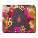 Retro polkadot with All Checkered A - Large Mousepad