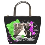black with purple and green layout - Bucket Bag