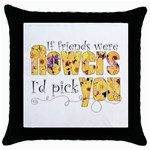 Flower Friends Throw Pillow - Throw Pillow Case (Black)