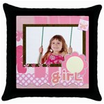 happy girl - Throw Pillow Case (Black)
