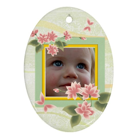 Flower Kids By Wood Johnson   Ornament (oval)   Hbejniqp8eu3   Www Artscow Com Front