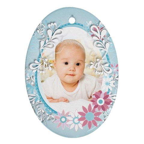 Baby Blue By Wood Johnson   Ornament (oval)   J2oy6fc5plh6   Www Artscow Com Front