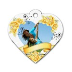 yellow flower - Dog Tag Heart (One Side)