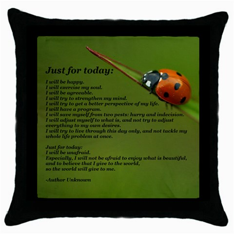 Just For Today    By Emily Anderson   Throw Pillow Case (black)   7x1kl3g7h0v5   Www Artscow Com Front