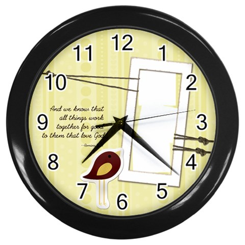 Chirp! Chirp! Clock By Spaces For Faces   Wall Clock (black)   58rtzri51ihr   Www Artscow Com Front