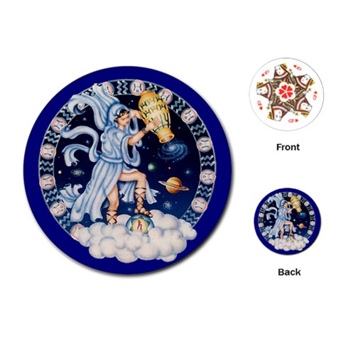 Aquarius Zodiac \playing Cards By Enkay   Playing Cards (round)   4b2264pggyli   Www Artscow Com Front