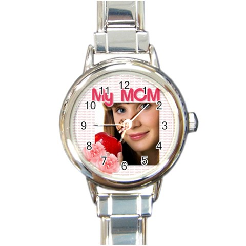 My Mom By Wood Johnson   Round Italian Charm Watch   6u2ga6a5m1ck   Www Artscow Com Front