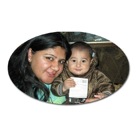 My Cute Lil Nephew Vihaan Is One Year Old     Kids Grow Up Quick!! By Kanika   Magnet (oval)   Z4mahunfz955   Www Artscow Com Front