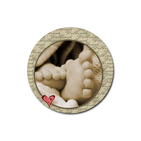 Dylan s Baby Feet By Jessica   Rubber Coaster (round)   5hcbphgmba7c   Www Artscow Com Front