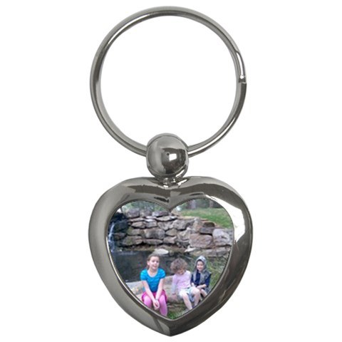 Waterfall And Kids And All  By Ivy   Key Chain (heart)   3svv4l6x9wiy   Www Artscow Com Front