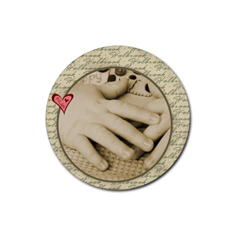 Dylan s Baby Hands By Jessica   Rubber Coaster (round)   Q4v7y0nul4mo   Www Artscow Com Front