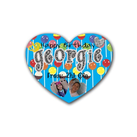 Georgie s Birthday Present By Zhi Qin   Rubber Coaster (heart)   Hwlivg2huu46   Www Artscow Com Front