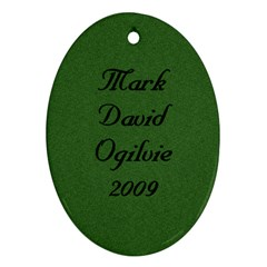 Mark David Ornament 2009 By Sharon   Oval Ornament (two Sides)   Kzwd2d0b9ktz   Www Artscow Com Back