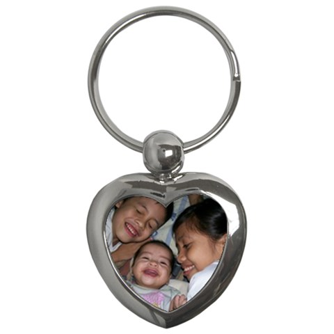 Heart Key Chain With Kiddos By Ruby Ricafrente   Key Chain (heart)   9dpdrbmxrxfh   Www Artscow Com Front