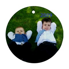 Grandson Ornament  By Nancy L Miller   Round Ornament (two Sides)   5yf3tga2i220   Www Artscow Com Front