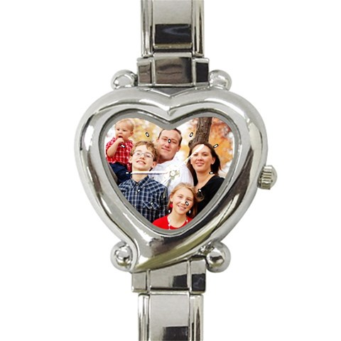 Family Portrait Watch By Christi   Heart Italian Charm Watch   Buskdg4jf0g1   Www Artscow Com Front