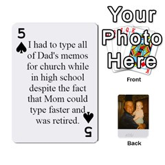Memories Of Dad By Erica   Playing Cards 54 Designs   Ji0dbkozetpg   Www Artscow Com Front - Spade5