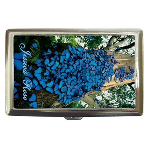 Cig Case 7   Blue Butterflies By Jessica   Cigarette Money Case   Q011oig7pb5o   Www Artscow Com Front