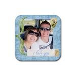 i love you coaster - Rubber Coaster (Square)