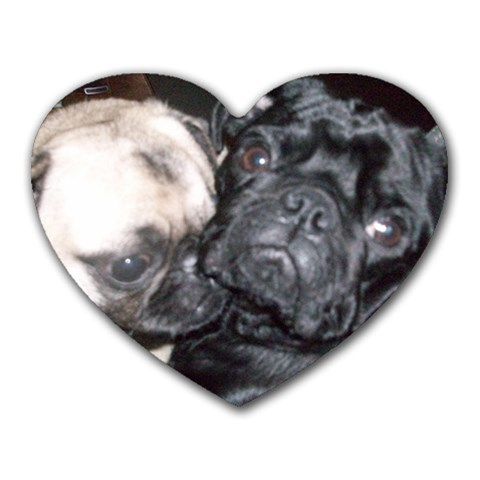 Pug Heart Mousepad By Christy   Heart Mousepad   Eo5sacgb6p2n   Www Artscow Com Front