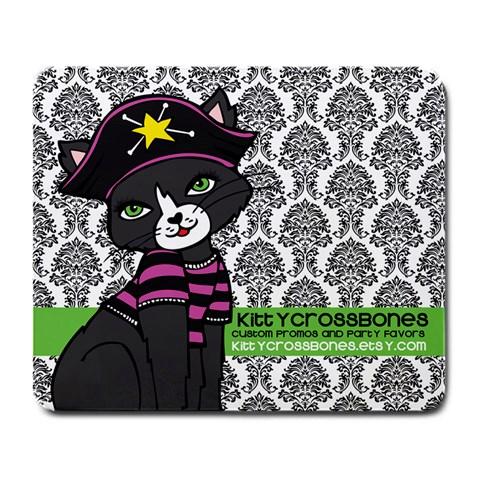 Kittycrossbones By Amylynn Field   Large Mousepad   Nl70vxai1frc   Www Artscow Com Front